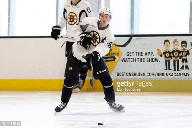 Boston Bruins defenseman Urho Vaakanainen passes during Bruins Development Camp on July 8 2017 at Warrior Ice Arena in Boston Massachusetts