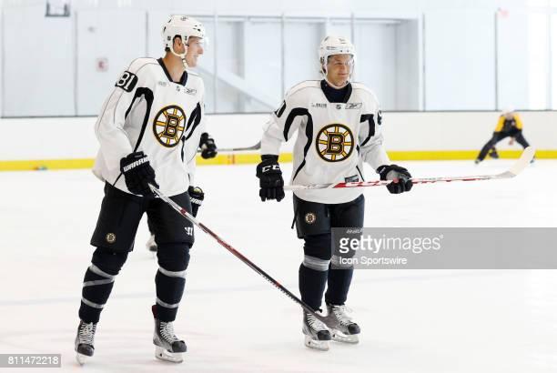Boston Bruins defenseman Wiley Sherman and Boston Bruins forward Anders Bjork skate during Bruins Development Camp on July 8 2017 at Warrior Ice...