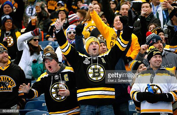Boston Bruins fans cheer prior to the 2016 Bridgestone NHL Winter Classic between the Montreal Canadiens and the Boston Bruins at Gillette Stadium on...