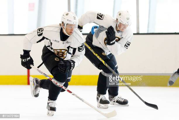 Boston Bruins forward Anders Bjork and Boston Bruins forward Trent Frederic skate in the timed drill during Bruins Development Camp on July 8 2017 at...