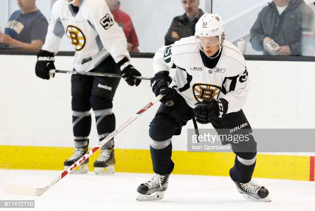 Boston Bruins forward Anders Bjork begins his third timing drill during Bruins Development Camp on July 8 2017 at Warrior Ice Arena in Boston...