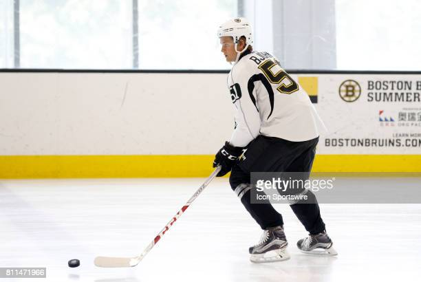 Boston Bruins forward Anders Bjork carries the puck during Bruins Development Camp on July 8 2017 at Warrior Ice Arena in Boston Massachusetts