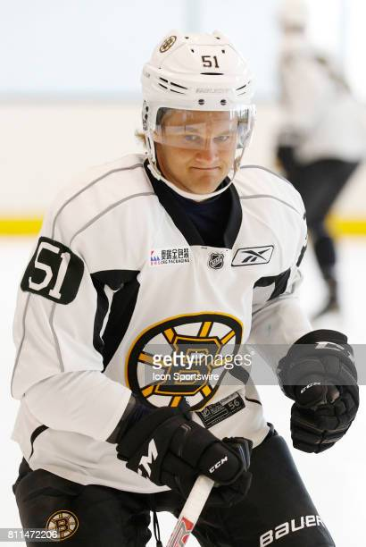 Boston Bruins forward Anders Bjork cuts during Bruins Development Camp on July 8 2017 at Warrior Ice Arena in Boston Massachusetts
