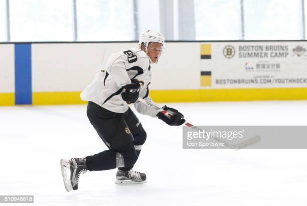 Boston Bruins forward Anders Bjork follows the puck during Bruins Development Camp on July 8 2017 at Warrior Ice Arena in Boston Massachusetts