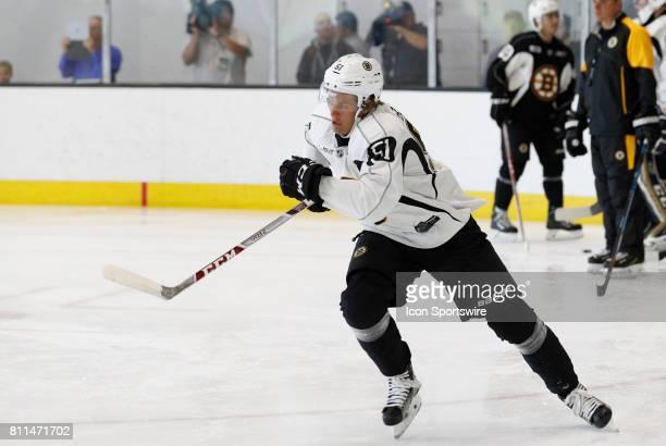 Boston Bruins forward Anders Bjork hustles up ice during Bruins Development Camp on July 8 2017 at Warrior Ice Arena in Boston Massachusetts