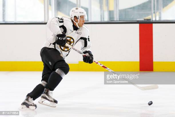 Boston Bruins forward Anders Bjork rushes up ice during Bruins Development Camp on July 8 2017 at Warrior Ice Arena in Boston Massachusetts
