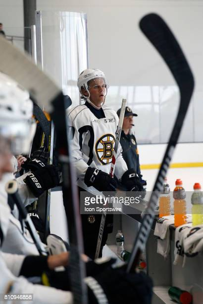 Boston Bruins forward Anders Bjork waits for a line change during Bruins Development Camp on July 8 2017 at Warrior Ice Arena in Boston Massachusetts