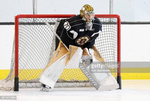 Boston Bruins goalie Dan Vladar gets set in goal during Bruins Development Camp on July 8 2017 at Warrior Ice Arena in Boston Massachusetts