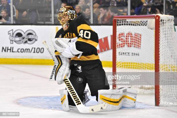 Boston Bruins Goalie Tuukka Rask can't hold onto the puck after it hits him in the chest During the Boston Bruins game against the Tampa Bay...