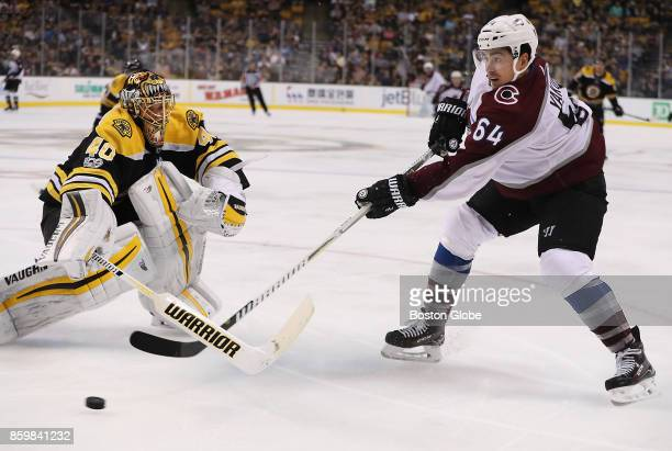Boston Bruins goalie Tuukka Rask comes out of the net as Colorado Avalanche right wing Nail Yakupov beats him for a goal during the third period The...