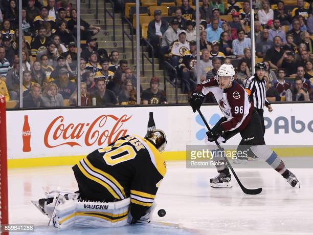 Boston Bruins goalie Tuukka Rask denies Colorado Avalanche right wing Mikko Rantanen a shot on goal during the third period The Boston Bruins host...