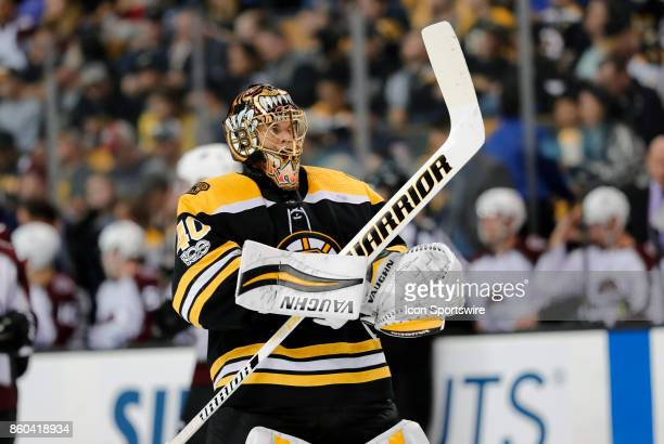 Boston Bruins goalie Tuukka Rask during a game between the Boston Bruins and the Colorado Avalanche on October 9 at TD Garden in Boston Massachusetts...
