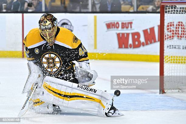Boston Bruins Goalie Tuukka Rask lets the puck slip thru his legs During the Boston Bruins game against the Detroit Red Wings on January 24 2017 at...