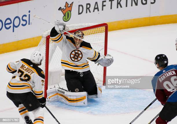 Boston Bruins goalie Tuukka Rask makes a blocker save during a regular season game between the Colorado Avalanche and the visiting Boston Bruins on...