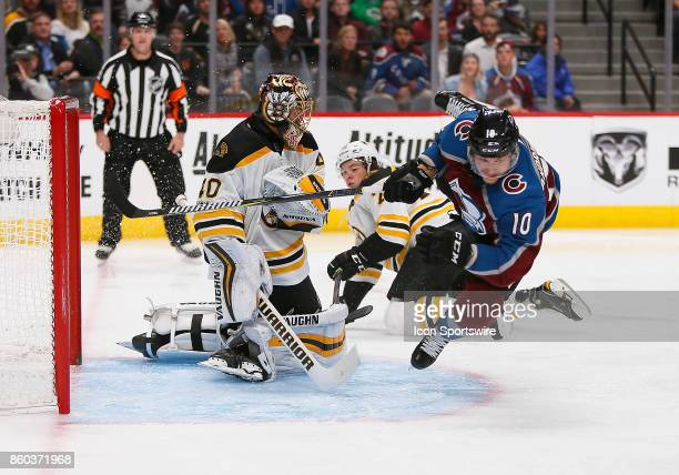 Boston Bruins goalie Tuukka Rask makes the save on a shot by Colorado Avalanche right wing Sven Andrighetto during a regular season game between the...