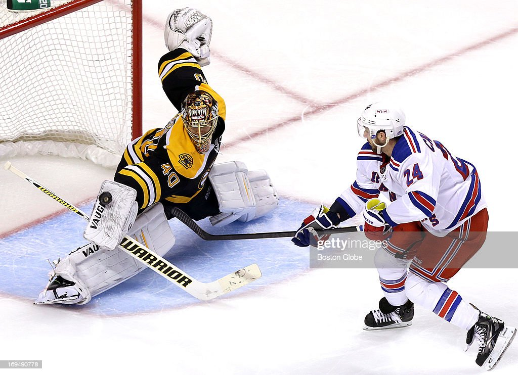Boston Bruins goalie Tuukka Rask (#40) makes what may have been the save of the game when he stoned New York Rangers right wing Ryan Callahan (#24) on a breakaway attempt in the third period. The Boston Bruins take on the New York Rangers in Game Five of the Eastern Conference semifinals at TD Garden.