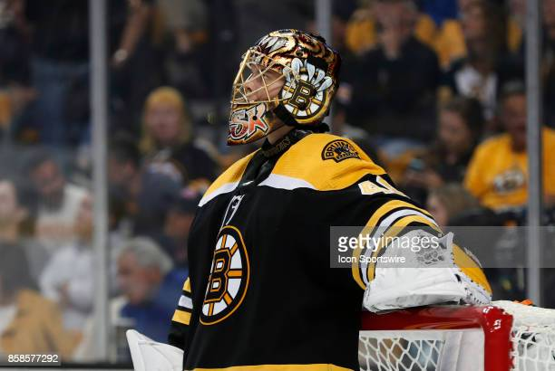 Boston Bruins goalie Tuukka Rask rests during a time out during an NHL game between the Boston Bruins and the Nashville Predators on October 5 at TD...