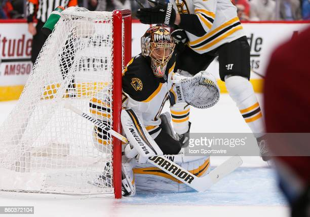 Boston Bruins goalie Tuukka Rask sits in net during a regular season game between the Colorado Avalanche and the visiting Boston Bruins on October 11...