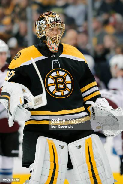 Boston Bruins goalie Tuukka Rask skates to his goal during a game between the Boston Bruins and the Colorado Avalanche on October 9 at TD Garden in...