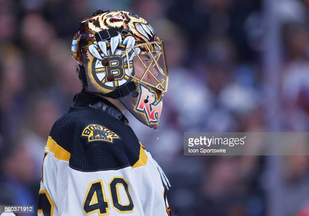Boston Bruins goalie Tuukka Rask stands in net during a regular season game between the Colorado Avalanche and the visiting Boston Bruins on October...