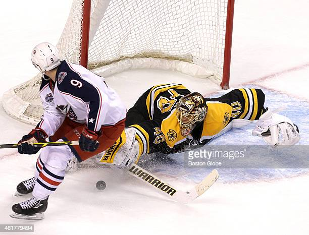 Boston Bruins goalie Tuukka Rask stops a break away shot by Columbus Blue Jackets left wing Jeremy Morin in the third period The Boston Bruins took...