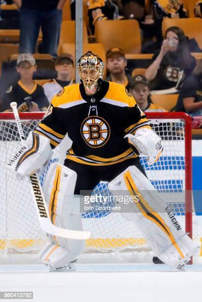 Boston Bruins goalie Tuukka Rask warms up before a game between the Boston Bruins and the Colorado Avalanche on October 9 at TD Garden in Boston...
