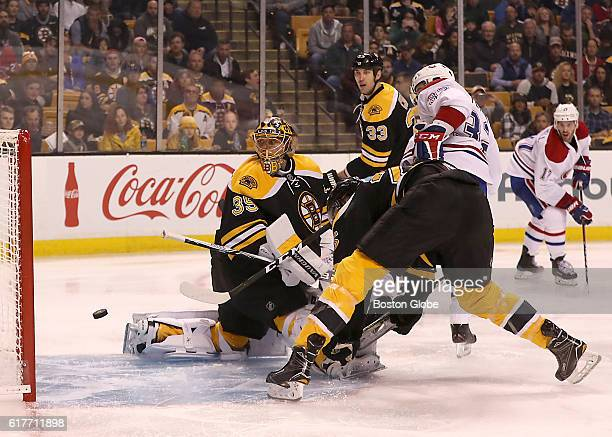 Boston Bruins goaltender Anton Khudobin watches Montreal Canadiens center Brian Flynn shot fall short of the goal during the second period at TD...