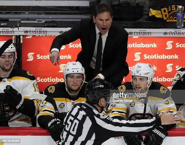 Boston Bruins head coach Bruce Cassidy argues a call late in the third period The Boston Bruins visit the Ottawa Senators in Game One of the first...