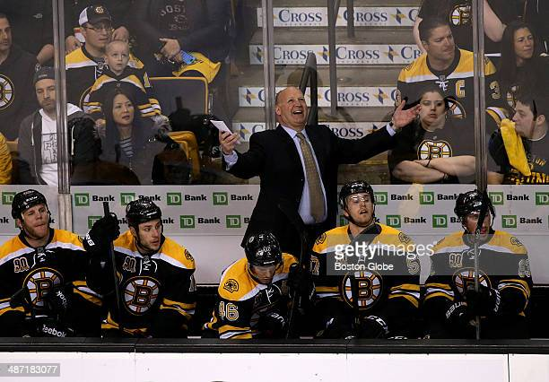 Boston Bruins head coach Claude Julien questions a call that put the Detroit Red Wings on the power play in the second period The Boston Bruins host...