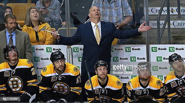 Boston Bruins head coach Claude Julien reacts after Brad Marchand was called for a penalty early in the second period The Boston Bruins hosted the...