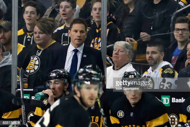 Boston Bruins interim head coach Bruce Cassidy watches a play during a regular season NHL game between the Boston Bruins and the Vancouver Canucks on...