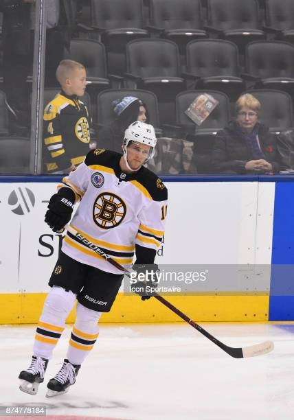 Boston Bruins left wing Anders Bjork skates during the warm up before a game between the Boston Bruins and the Toronto Maple Leafs at Air Canada...