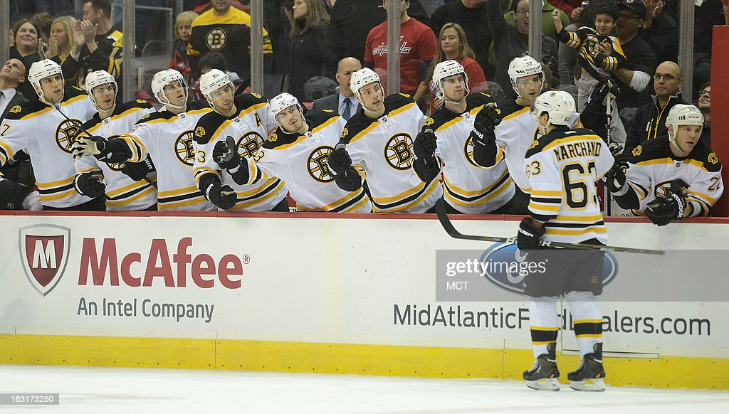 Boston Bruins left wing Brad Marchand (63) celebrates with teammates after he scored on a penalty shot against the Washington Capitals in the first period at the Verizon Center in Washington, D.C., Tuesday, March 5, 2013.