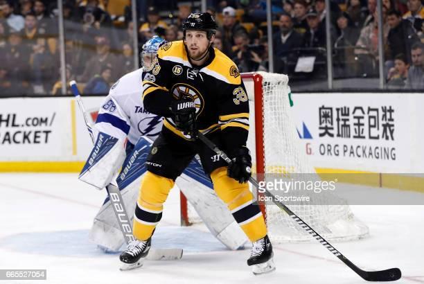 Boston Bruins left wing Matt Beleskey sets up in front of Tampa Bay Lightning goalie Andrei Vasilevskiy on the power play during a regular season NHL...