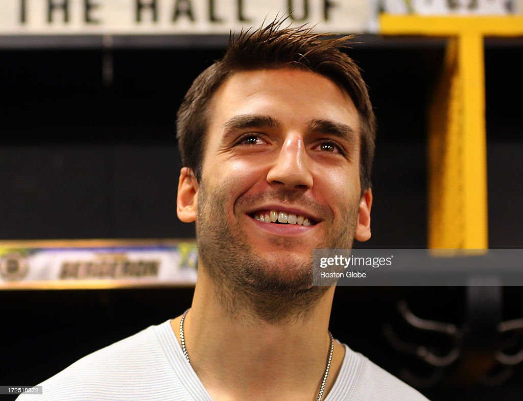 Boston Bruins Patrice Bergeron talked to the media in the Bruins locker room about his injuries that he endured while playing the the Stanley Cup final against the Chicago Blackhawks. He suffered a punctured lung, a separated shoulder and a broken rib, and still played.