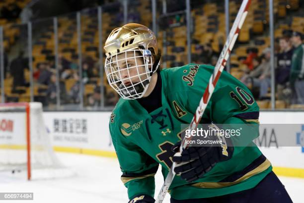 Boston Bruins prospect Notre Dame Fighting Irish right wing Anders Bjork skates during warm up before a Hockey East semifinal between the UMass...
