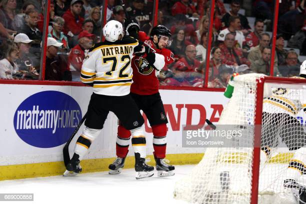 Boston Bruins Right Wing Frank Vatrano hits Ottawa Senators Defenceman Chris Wideman in the first period of game 2 of the first round of the 2017 NHL...