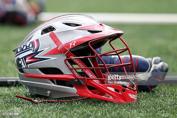 Boston Cannons helmet is seen on the field prior to the game between the Boston Cannons and the New York Lizards at Gillette Stadium on May 3 2015 in...