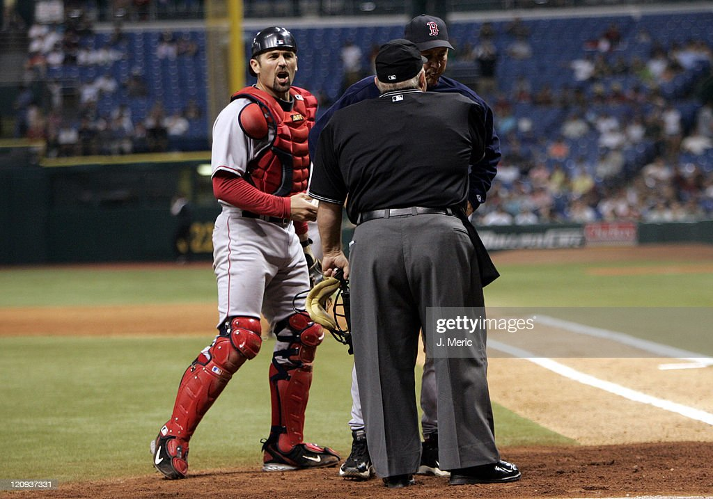 Boston catcher <a gi-track='captionPersonalityLinkClicked' href=/galleries/search?phrase=Jason+Varitek&family=editorial&specificpeople=171480 ng-click='$event.stopPropagation()'>Jason Varitek</a> and manager <a gi-track='captionPersonalityLinkClicked' href=/galleries/search?phrase=Terry+Francona&family=editorial&specificpeople=171936 ng-click='$event.stopPropagation()'>Terry Francona</a> argue a call with homeplate umpire Mike Winters during Friday night's action against Tampa Bay at Tropicana Field in St. Petersburg, Florida on April 28, 2006.