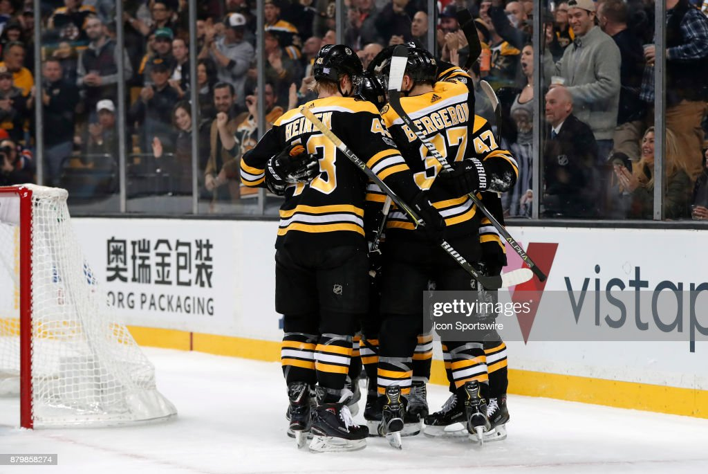 Boston celebrates the goal from Boston Bruins right wing David Pastrnak (88) during a game between the Boston Bruins and the Edmonton Oilers on November 26, 2017, at TD Garden in Boston, Massachusetts. The Oilers defeated the Bruins 4-2.