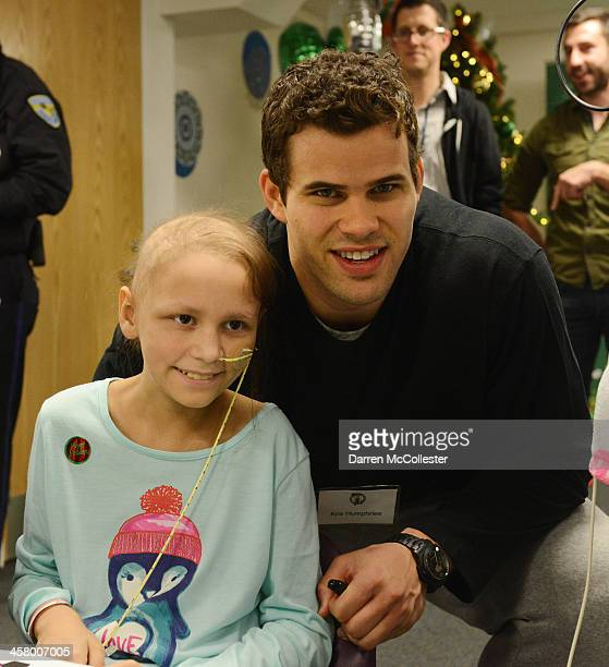 Boston Celtic Kris Humphries visits Brianna at Boston Children's Hospital on December 19 2013 in Boston Massachusetts