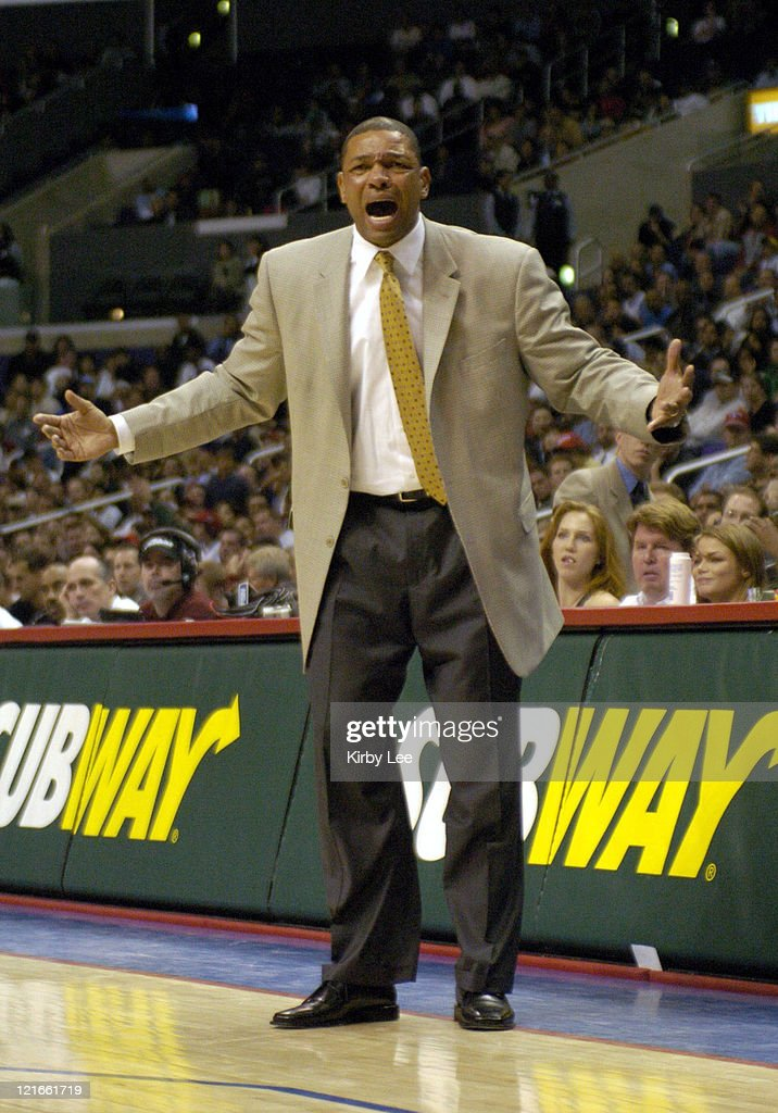 Boston Celtics coach Doc Rivers watches from the bench during the 134127 double overtime victory over the Los Angeles Clippers at the Staples Center...