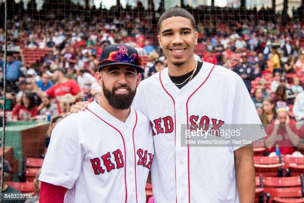 Boston Celtics first round draft pick Jayson Tatum poses for a photograph with Deven Marrero of the Boston Red Sox before throwing out the ceremonial...