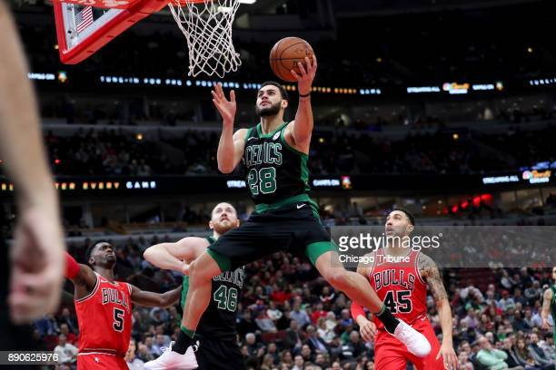 Boston Celtics forward Abdel Nader goes up for a basket during the first half against the Chicago Bulls at the United Center Monday Dec 11 in Chicago
