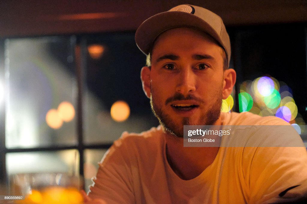 Boston Celtics forward Gordon Hayward watches the Boston Celtics take on the San Antonio Spurs on television at The Local in Wellesley, MA on Dec. 8, 2017. Hayward joined Boston Globe reporter Adam Himmelsbach to watch the game and discuss his recovery from a gruesome ankle injury in the first game of the season, his team, and his eventual return.