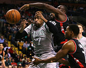 Boston Celtics forward Jared Sullinger loses control of a defensive rebound as he is hit from behind on the play during the third quarter The Boston...