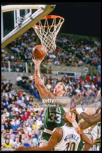 Boston Celtics forward Larry Bird shoots a layup during game against the Golden State Warriors at the Oakland Colesium Arena in Oakland California...