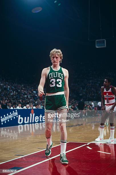 Boston Celtics' forward Larry Bird walks to the side line during a game against the Washington Bullets at Capital Centre circa 1980 in Washington DC...