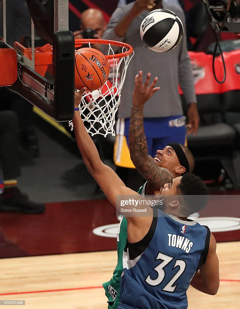 Boston Celtics guard Isaiah Thomas and Minnesota Timberwolves Center Karl-Anthony Towns race in the Skills Challenge during the NBA's All-Star Saturday Night. Where players compete in three events, the Skills Challenge, 3-point shooting and Slam Dunk at the in Toronto. February 13, 2016.