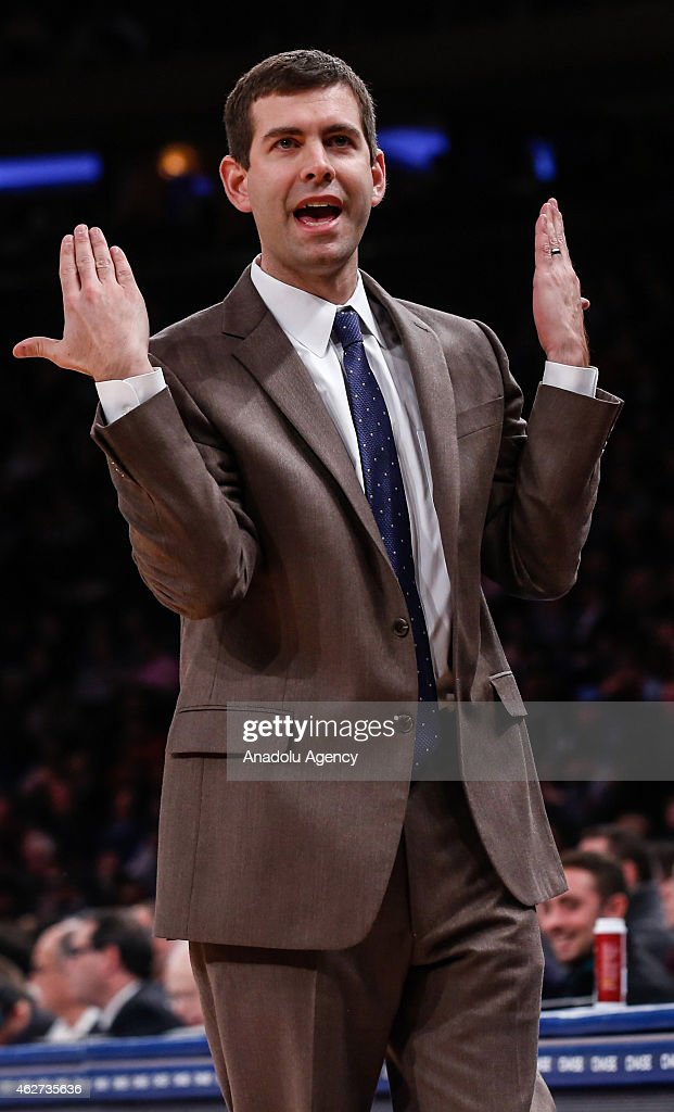 Boston Celtics head coach <a gi-track='captionPersonalityLinkClicked' href=/galleries/search?phrase=Brad+Stevens&family=editorial&specificpeople=5022542 ng-click='$event.stopPropagation()'>Brad Stevens</a> reacts as he watches the NBA game between New York Knicks and Boston Celtics at Madison Square Garden in Manhattan, New York on February 3, 2015.